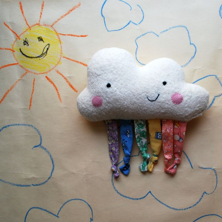 Happy Rainbow Cloud Baby Plushie Toy made from Organic Cotton Fleece by beeperbebe on Etsy