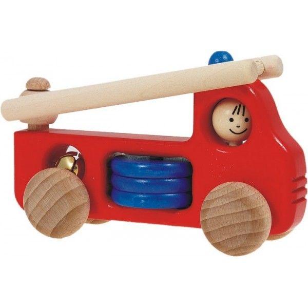 ym razem coś dla małych strażaków. Bajo 41830 - Drewniany Wóz Strażacki z Drabiną H1 z dzwoneczkiem, drabiną oraz okręgami do przesuwania paluszkiem. Zabawka bezpieczna dla dzieci od 18 miesięcy.