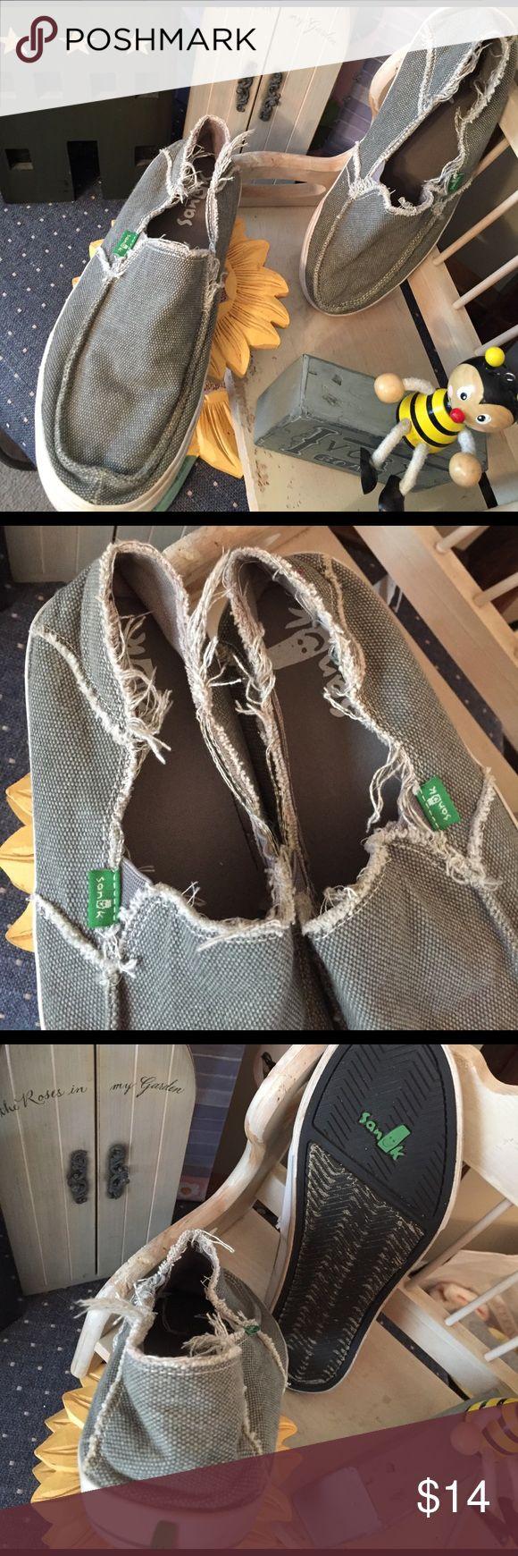 Sanuk men's Sz 8 Loafers like new   Khaki green canvas cotton flats Sanuk Shoes Loafers & Slip-Ons