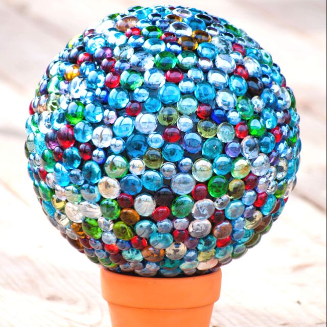 Marble gazing ball made with a bowling ball and glass for Glass jewels for crafts