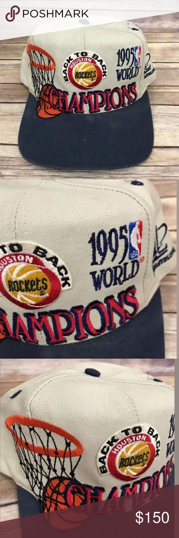 """Vintage 1995 Houston rockets NBA hat 1995 """"BACK TO BACK"""" Houston Rockets Championship hat by Starter with snap on back!!!     Every Houston Rockets fan would love this as an addition to your Houston Rocket collection! NBA Accessories Hats"""