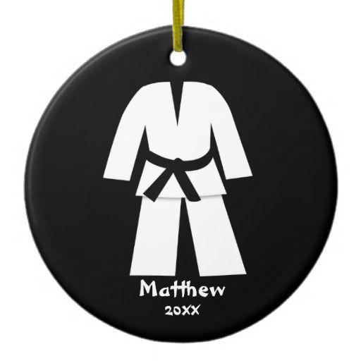 Taekwondo Karate Black Belt Personalized Christmas Ornament