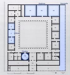 Plan of the palace at Aigai (Vergina) Ancient Greek kingdom of Macedonia, northern Greece