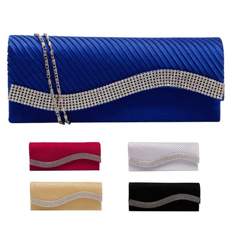 Ladies New Fashion Satin Rhinestone Occasion Clutch Purse //Price: $12.95 & FREE Shipping //     #love