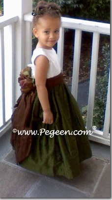 Olive and Fall colored BROWN flower girl dresses