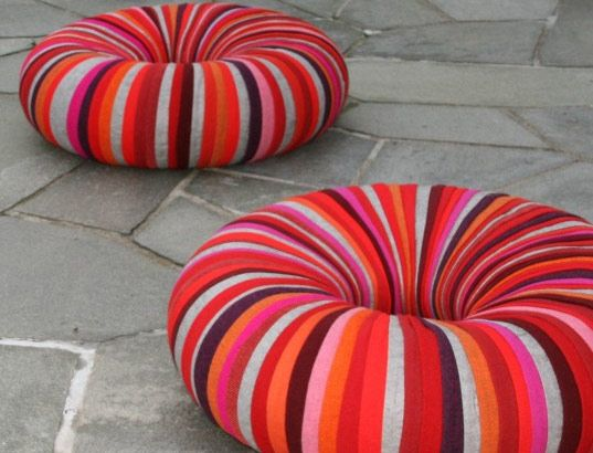 CHAIRS = inner tubes wrapped in fabric. Kind of genius. For playroom: Tube Wraps, Outdoor Seats, Idea, Diy Furniture, Inner Tube, Outdoor Chairs, Classroom Libraries, Upholstery Fabrics, Kids Rooms