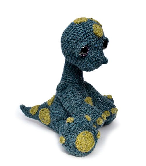Monti the diplodocus amigurumi pattern by Patchwork Moose (Kate E Hancock)