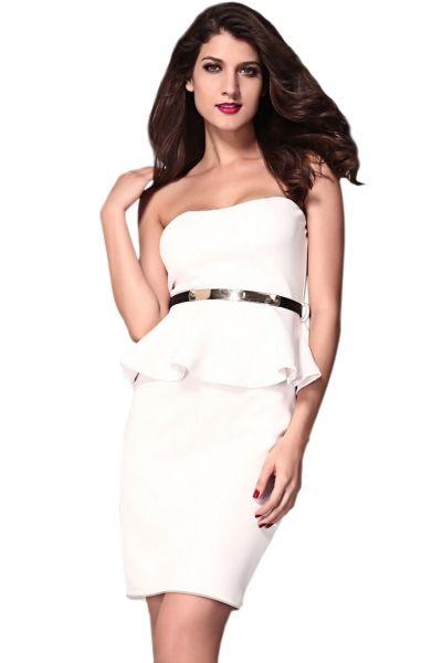 White Off-the-shoulder Evening Peplum Midi Dress