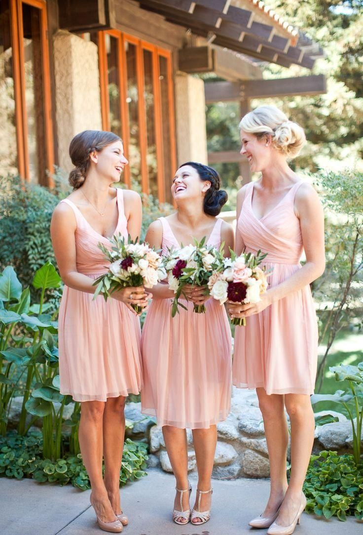 Girls Bridesmaid Dresses 2016 Keen Length Bridesmaid Dresses Pink Blush V Neck Ruched Chiffon Summer Short Dress For Brides Maid Cheapest Wedding Guest Gown Jordan Fashions Bridesmaid Dresses From Adminonline, $54.44| Dhgate.Com