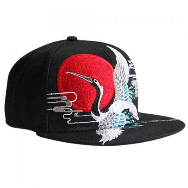 Stylish Red-Crowned Crane Shape Embroidery Black Baseball Cap #women, #men, #hats, #watches, #belts