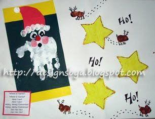 December Handprint Santa & Thumbprint Reindeer with Santa Poem - Fun Handprint Art