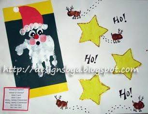 December Handprint Santa & Thumbprint Reindeer with Santa Poem - Fun Handprint Art