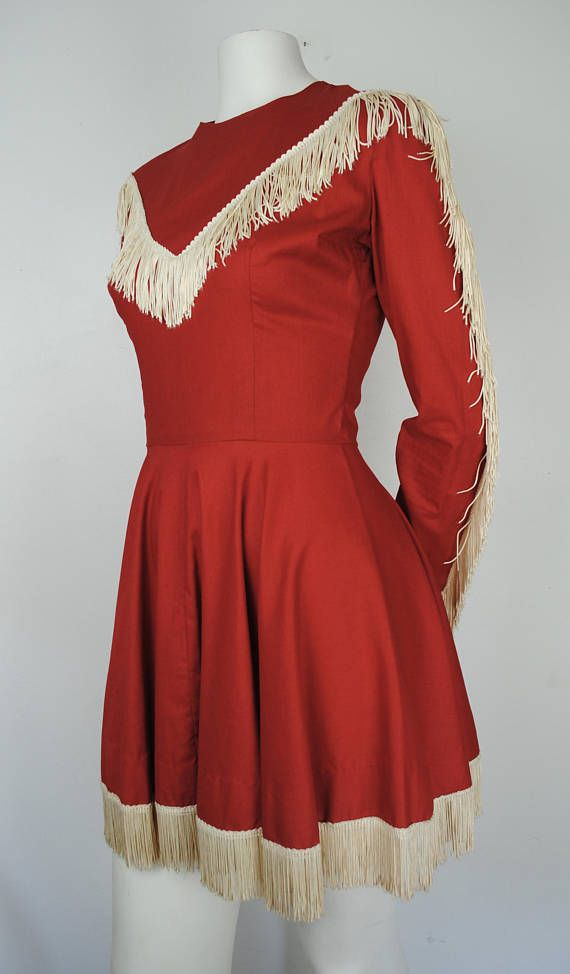 Vintage 60s Western Costume  1960s Red Cowgirl Western Outfit -- Sold by Alda Wild