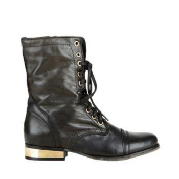 TROOPALE BLACK GOLD women's bootie flat casual - Steve Madden