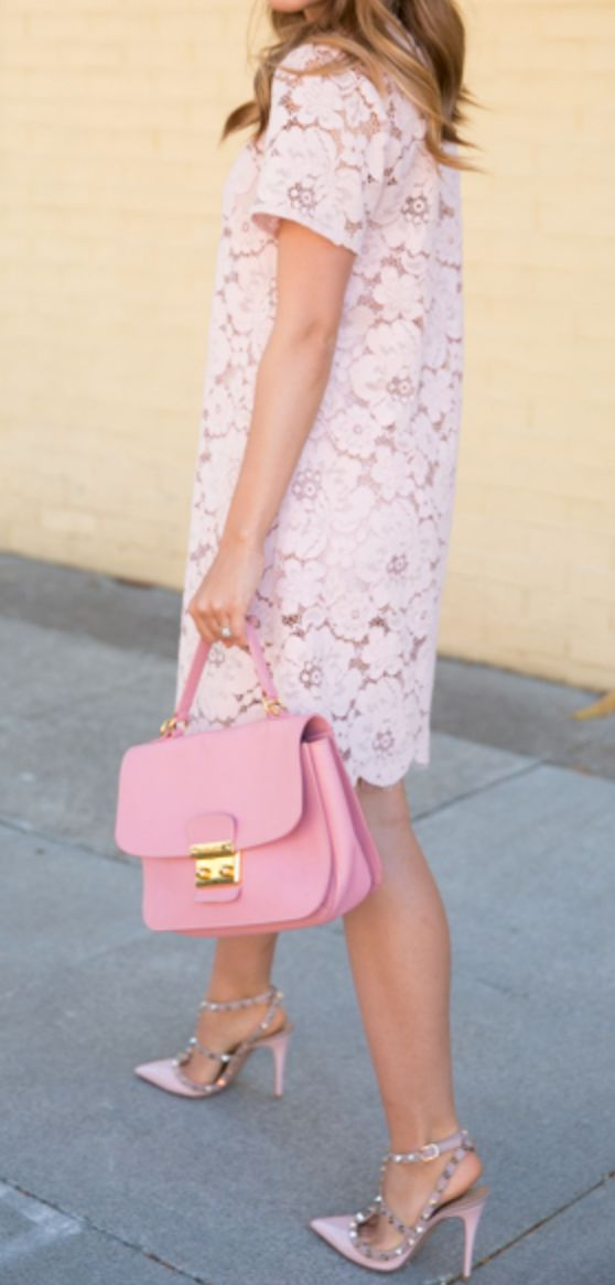 light pink floral lace dress