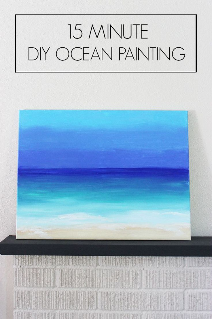 Create this DIY Ocean Painting in 15 Minutes. It's so simple.  Even if you don't paint, you will find this to be simple.