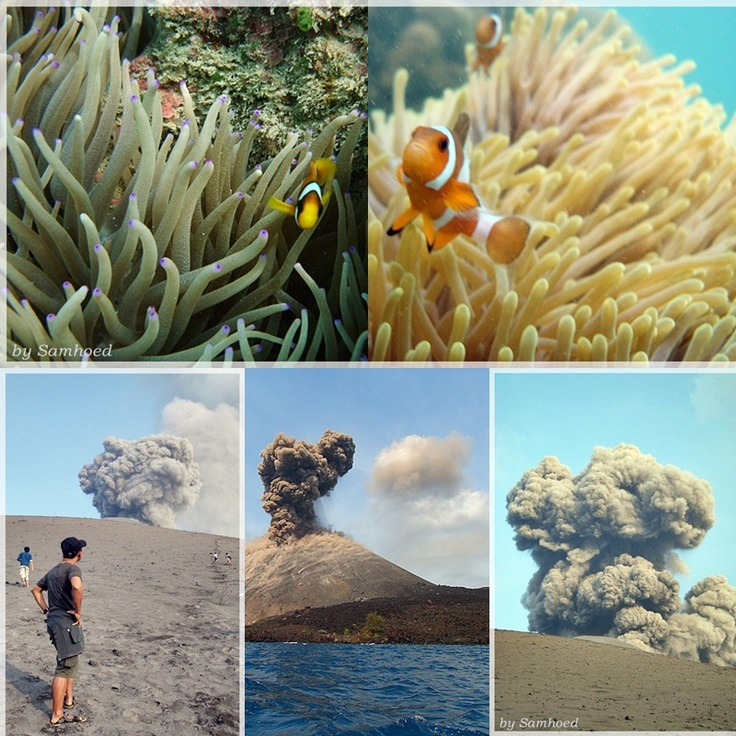 Krakatau/Krakatoa  is a volcanic island made of lava in the Sunda Strait between the islands of Java and Sumatra in Indonesia, beautiful places to visit in Indonesia.