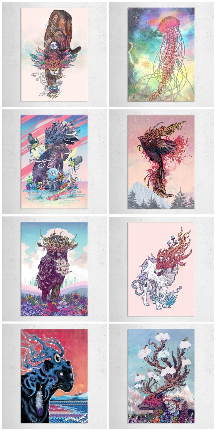 """Nature's Spirits"" collection of metal posters by Mat Miller #animal"