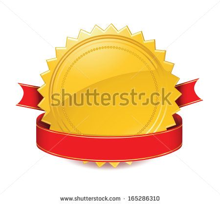 Golden Starburst with Red Ribbon Icon