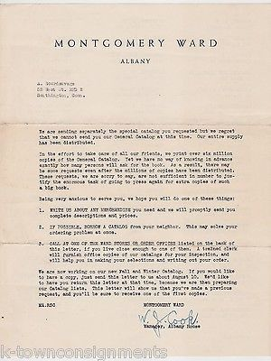 W. J. COOK MONTGOMERY WARD MANAGER VINTAGE AUTOGRAPH SIGNED STATIONERY LETTER