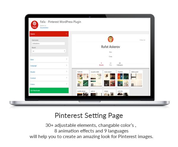 Felix - Pinterest Responsive WordPress Plugin  Setting page overview
