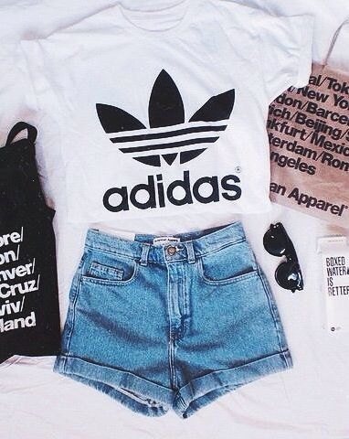 Teen fashion. Adidas tee. Highwaisted shorts. Summer outfit. Cute outfit.