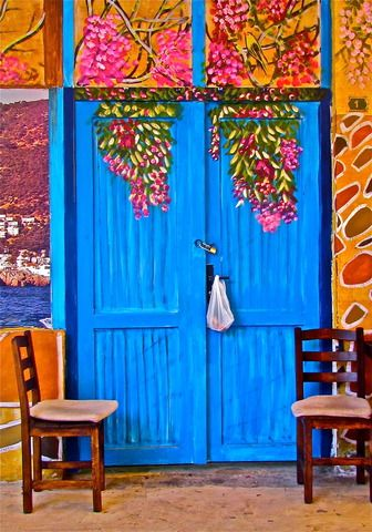 Objects in Bodrum, Turkey (blue other things door chairs) - a photo by ESRA SIRMAN