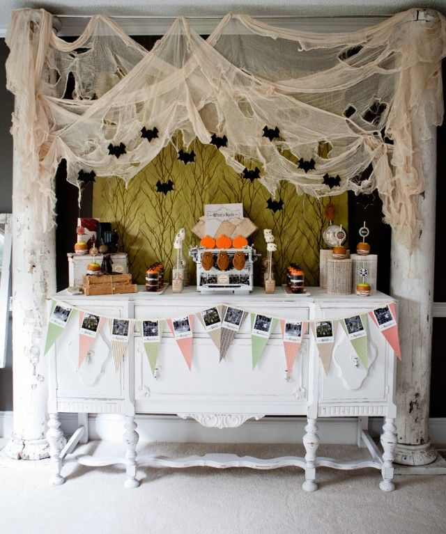neat idea for halloween party ceiling decor
