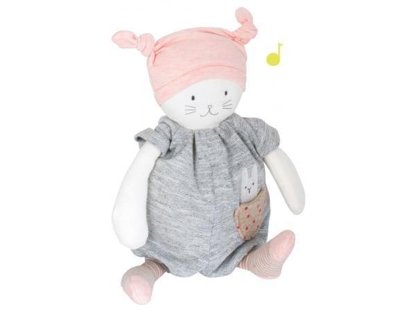 Moulin Roty - Chat musical Moon Les petits dodos #puériculture #bebe #bébé #maternité #listedenaissance #naissance #cadeaunaissance #cadeau #futuremaman #grossesse #enceinte #chambreenfant #chambrebebe #jeu #jouet #enfant #activité #doudou #peluche #moulinroty
