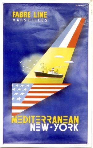 Tonelli - Fabre Line Mediterranean New-York - 1950 vintage poster