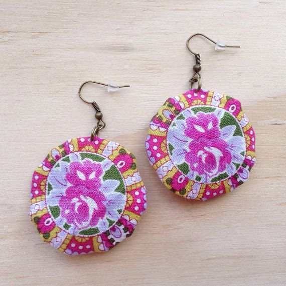 Floral Cameo Round Fabric Earrings Boho Pink by tenaseeandteneil
