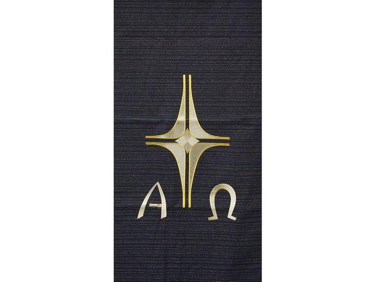 Ambotuch schwarz mit Stickerei Kreuz, Alpha/Omega, Sakrale Kunst EBENHOFER GmbH