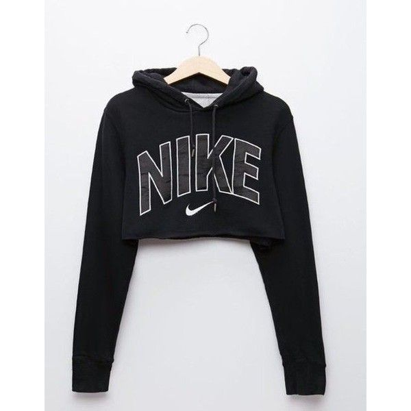 Jumpsuit: sweater nike crop nike black black sweater cropped sweater... ❤ liked on Polyvore featuring tops, nike top, nike, cut-out crop tops and crop top