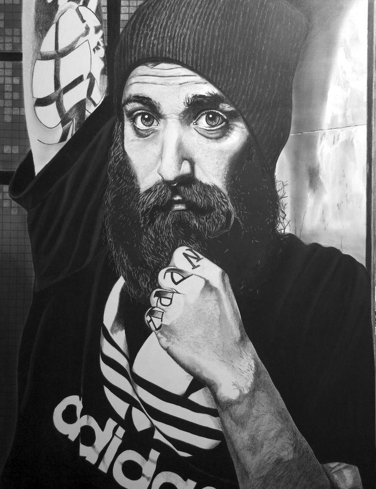 """""""Rothwerk""""(Simon) Fettkreidestift on canvas,120x100cm painting by wilfried ploderer©2015"""