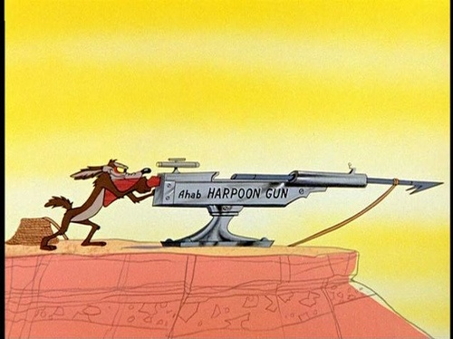 "Ahab harpoon gun    as shown in ""Zoom and Bored"" (dir. Chuck Jones, 1957)"