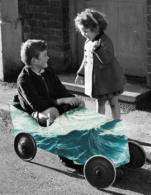 Dans cette série intitulée « Natural Act », la photographe turque Merve Özaslan réalise des collages dans lesquels se mêlent de vieilles photographies en noir et blanc avec des éléments naturellement colorés. Photo-Collages Vintages par Merve Özaslan