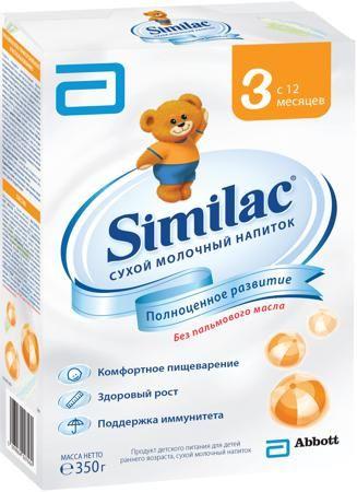 Similac (Abbott) 3 (с 12 месяцев) 350 г  — 279р. --------------- Молочный напиток Similac 3 с 12 мес. 350 г. Сухой молочный напиток для детей раннего возраста без пальмового масла для полноценного развития малыша. Содержит пребиотики, способствующие формированию мягкого стула. Без пальмового масла - нежно воздействует на кишечник, способствует формированию мягкого стула и более высокому усвоению кальция. Смесь специально разработана для хорошего усвоения. Смесь содержит незаменимые жирные…