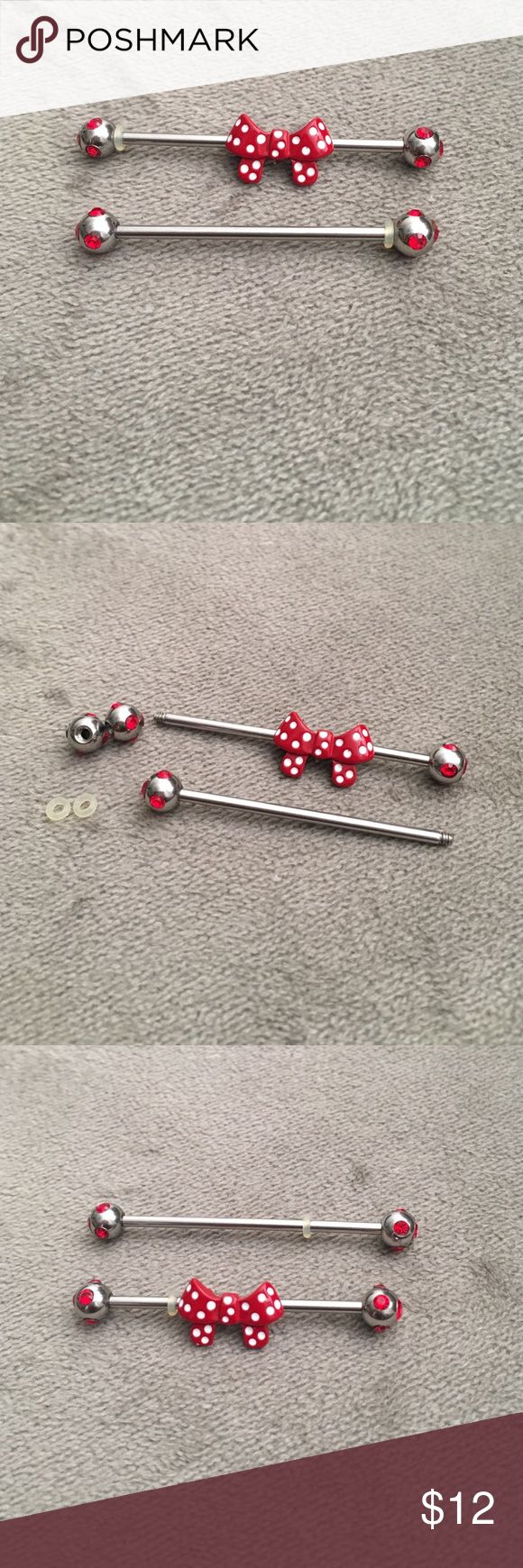 Red poka dot bow industrial piercing jewelry Cute industrial jewelry, 2 different size barbells removable bow and little red ball, never worn because I never got the ear piercing done Jewelry Earrings