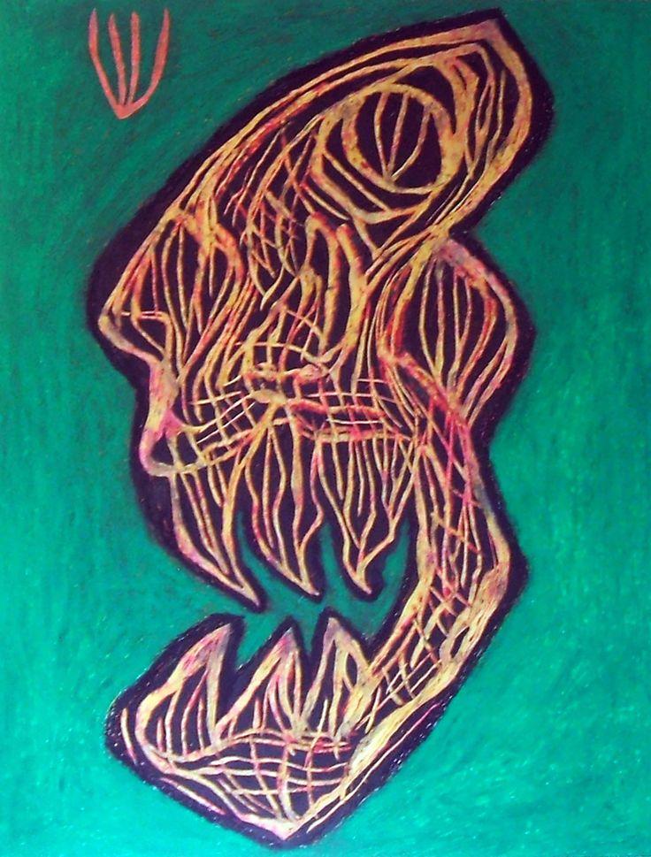 """""""Teschio alieno"""" 2014 Tecnica mista su cartoncino 48x38 ©Pietro Gargano"""