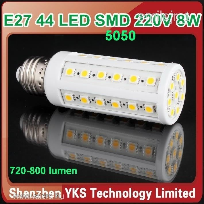 LED izzó E27 8W 44×smd5050 hidegfehér KUKORICA - 1450 Ft - Nézd meg Te is Vaterán - Izzó, led, égő - http://www.vatera.hu/item/view/?cod=1808551385