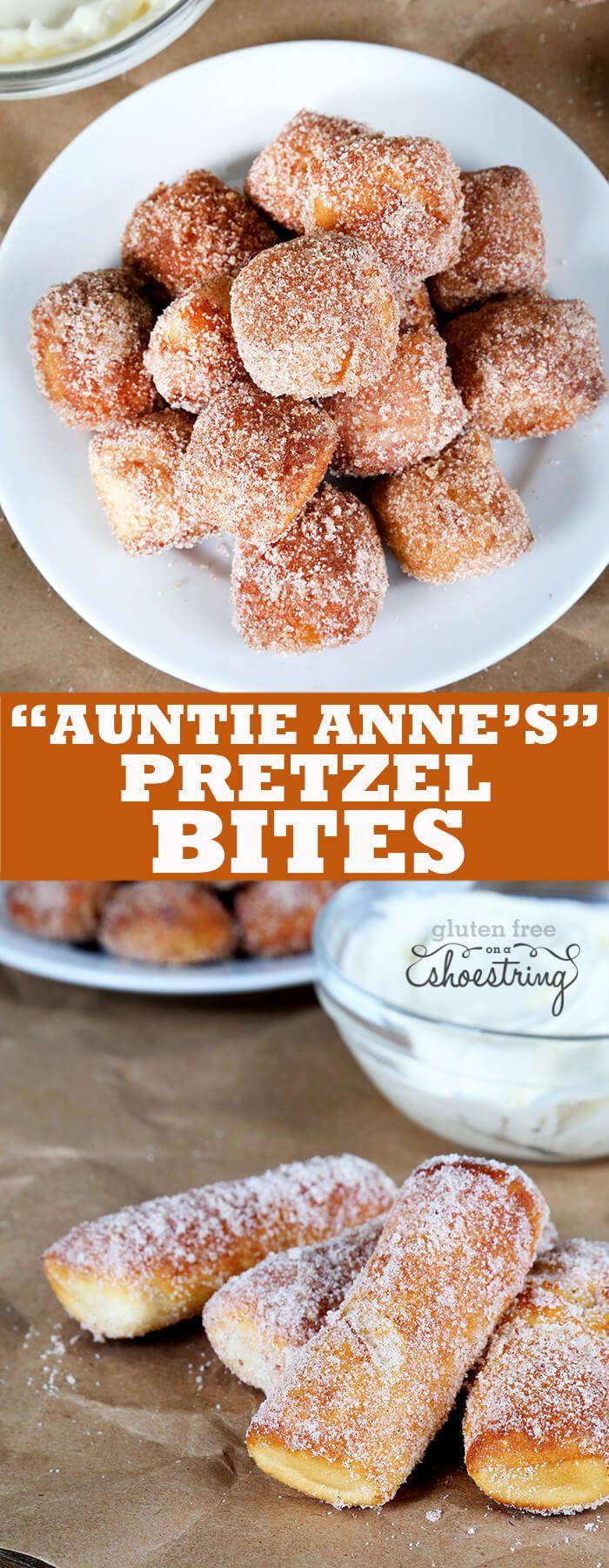 Gluten free cinnamon sugar gluten free soft pretzel bites just like Auntie Anne's—with sweet glaze. Get your Auntie Anne's back! http://glutenfreeonashoestring.com/auntie-annes-style-gluten-free-soft-pretzel-bites-cinnamon-sugar/