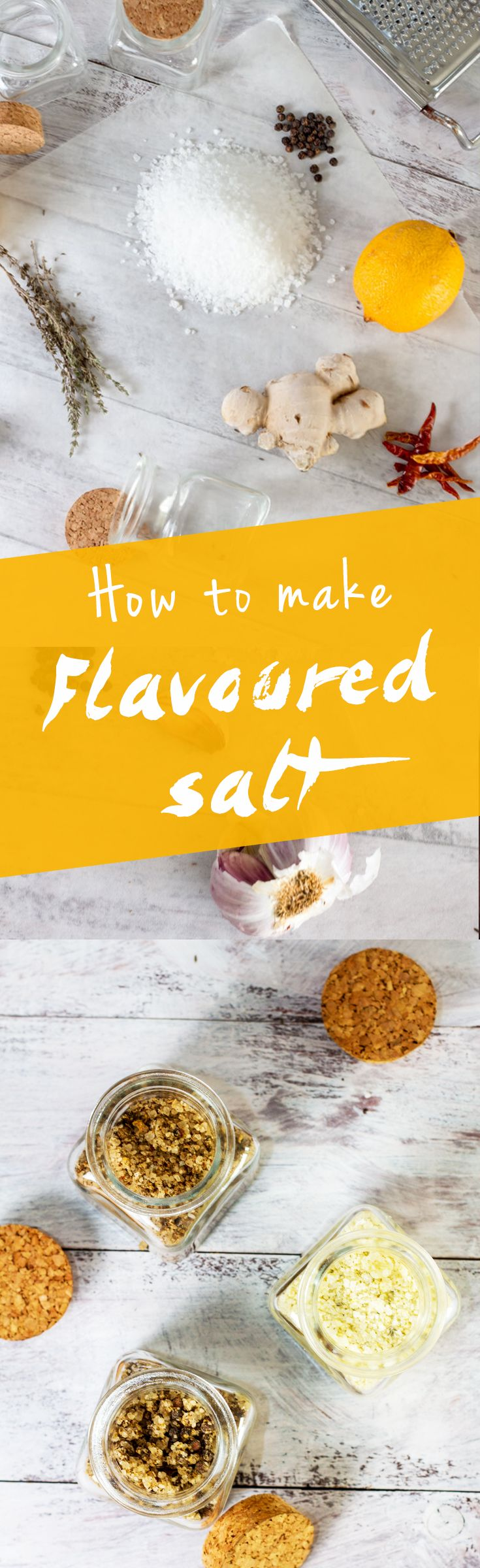 Learn how to make flavored salts. www.haveanotherbite.com | #flavor #salt #recipe