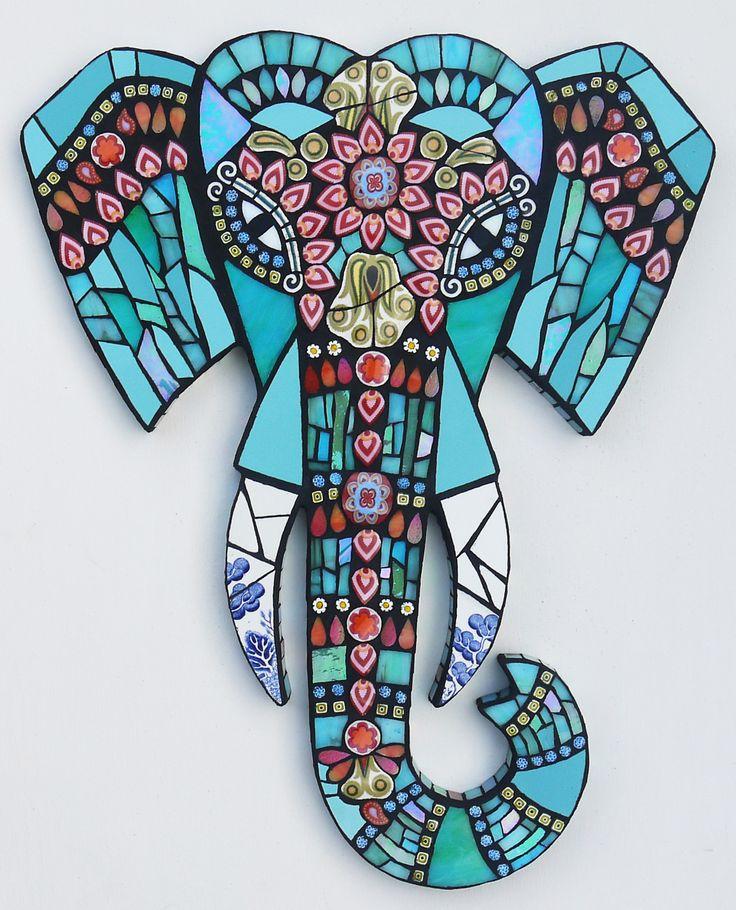 Mosaic Elephant ~ Amanda Anderson *Adapt with glue resist?