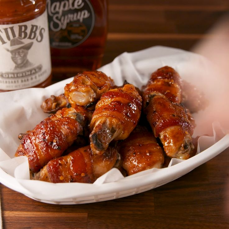 Spicy BBQ bacon-wrapped chicken wings ♡