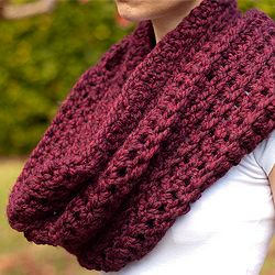 Plum red chunky cowl & shawl made from a wool and soft acrylic blend.