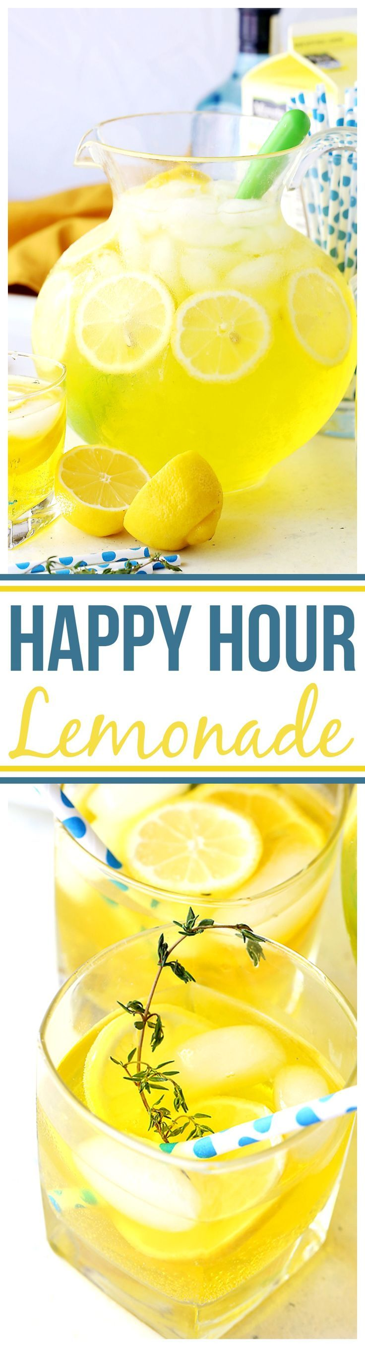 Happy Hour Lemonade - A fun and delicious twist on traditional Lemonade with 7-up, vodka, gin and triple sec. Perfectly refreshing and bright, everyone always comes back for more!