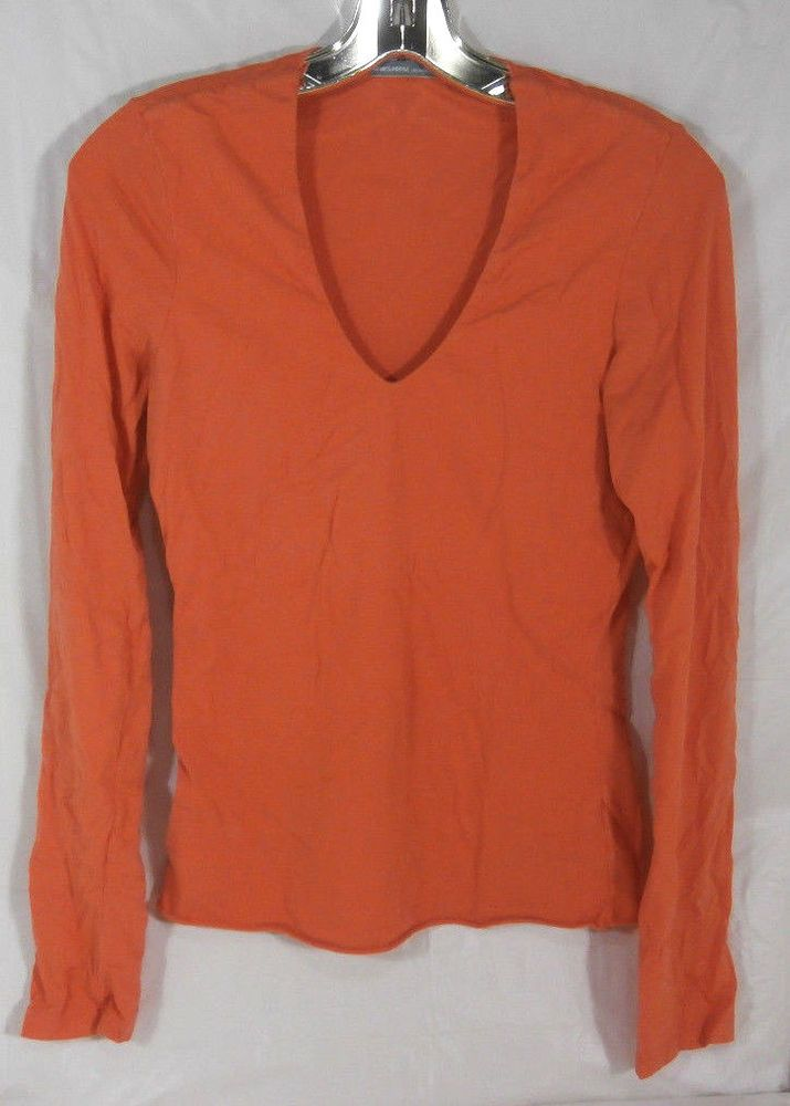 JAMES PERSE Size 3 Womens Orange Long Sleeve Top #JamesPerse #VNeck