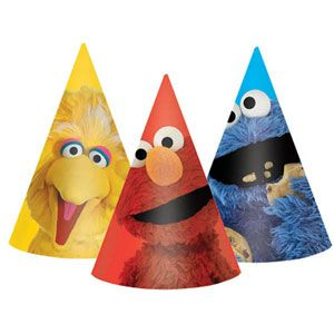 1064 - Sesame Street Party Hats. Pack of 8 www.facebook.com/popitinaboxbusiness