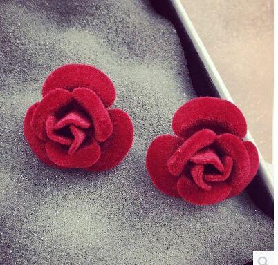 2016 NEw Hot moda de Alta qualidade brincos Camélia flor rosa elegante brinco fêmea preto de pelúcia vermelho do parafuso prisioneiro da orelha acessório