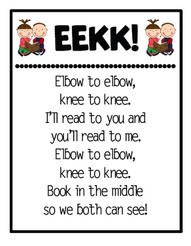 Elementary - Reading - Daily 5 - EEKK (elbow to elbow and knee to knee). This is to be used while partner reading. There is one coach and one reader. Share the book and guide one another. Found on pinterest.